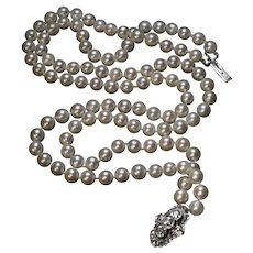 Vintage Double Strand Cultured Pearl Necklace With Diamond Clasp