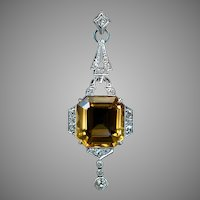 Art Deco Vintage Citrine Diamond White Gold Pendant