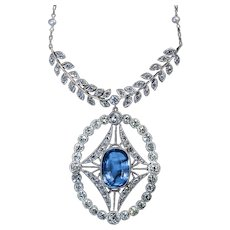 Antique 4.52 Ct Ceylon Sapphire Diamond Pearl Platinum Necklace