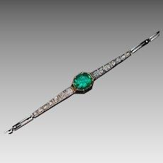 Antique Colombian Emerald And Diamond Russian Bracelet