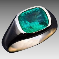 Very Rare Antique 3.53 Ct Russian Emerald Unisex Ring