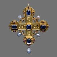 Antique Medieval Style Italian 19th Century Jeweled 18K Gold Cross Pendant Brooch