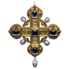 Antique Medieval Style Italian 19th Century Jeweled 18K Gold Cross Pendant Brooch
