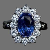 Vintage 3.77 Ct Sapphire Diamond Engagement Ring