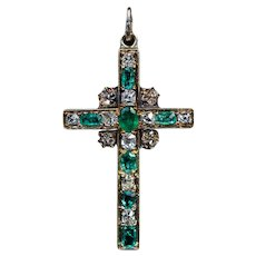 Antique Mid-19th Century Emerald Diamond 18K Gold Cross Pendant