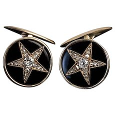 Antique Russian Old Cut Diamond Black Enamel 14K Gold Star Cufflinks