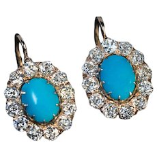 Antique Persian Turquoise Diamond 14K Gold Russian Cluster Earrings - Victorian 19th Century Jewelry