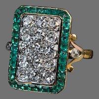 Antique French Rectangular Frame Diamond 18K Gold Cluster Ring