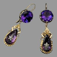 Antique Victorian Amethyst Pearl 14K Gold Dangle Earrings
