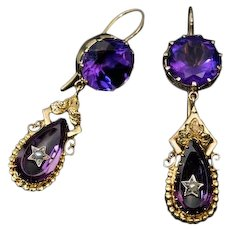 Antique Victorian Amethyst Pearl 14K Gold Dangle Earrings