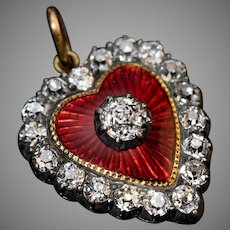 Antique Heart Shaped Diamond Red Guilloche Enamel 18K Gold Pendant Necklace