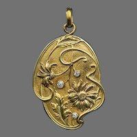 Art Nouveau Antique French Diamond 18K Gold Locket Pendant