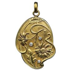 Art Nouveau Antique French Diamond 18K Gold Locket Pendant