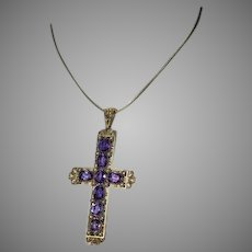 Large 19th Century Antique Amethyst Pearl 14K Gold Cross Pendant