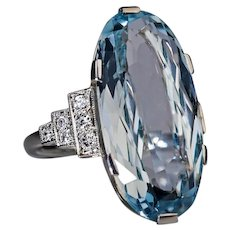 Art Deco Vintage 10 Ct Aquamarine Diamond White 14K Gold Ring