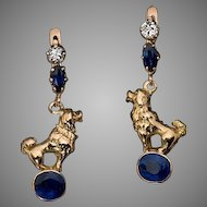 Antique Russian Sapphire Diamond 14K Gold Poodle Motif Earrings