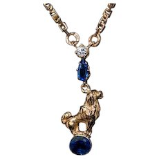 Antique Russian Poodle Motif Sapphire Diamond 14K Gold Necklace