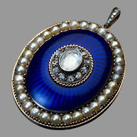 Antique Georgian Era Royal Blue Enamel Diamond Pearl Pendant