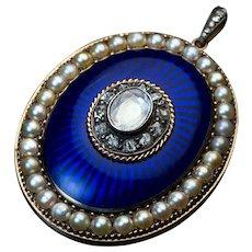 Antique Georgian Era Royal Blue Enamel Diamond Pearl Pendant