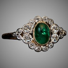 Antique Cabochon Emerald Diamond Engagement Ring