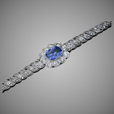 Antique Edwardian Sapphire Diamond Platinum Bracelet
