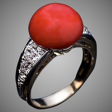 Art Deco Vintage Coral Diamond Platinum 18K Gold Ring