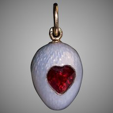 Antique Russian FABERGE Enamel And Heart Shaped Ruby Egg Pendant
