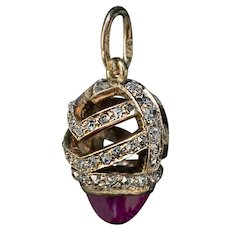 Antique FABERGE Cabochon Ruby Rose Cut Diamond 14K Gold Miniature Egg Pendant