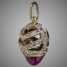Antique FABERGE Cabochon Ruby Rose Cut Diamond 14K Gold Miniature Egg Pendant