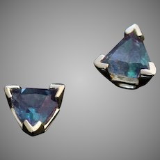 Very Rare Russian Alexandrite 14K Gold Stud Earrings
