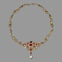 Antique Renaissance Revival Garnet Pearl 14K Gold Necklace