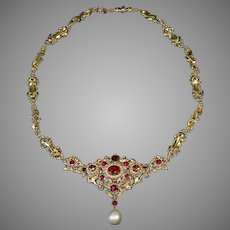 Antique Renaissance Revival Garnet Pearl 14K Gold Necklace