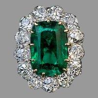 Very Rare Antique Russian 3.24 Ct Emerald Diamond Engagement Ring