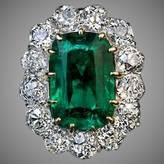 Very Rare Antique Russian 3.24 Ct Emerald Diamond Engagement Ring