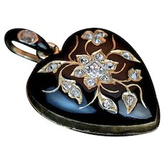 Antique Black Enamel Diamond 18K Gold Heart Shaped Locket Pendant