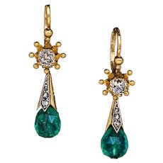 Antique Byzantine Style Emerald Diamond Gold Drop Earrings
