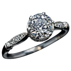 1 Carat Old European Cut Diamond Platinum Engagement Ring