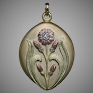 Art Nouveau Antique Three Color 14K Gold Diamond Russian Locket Pendant