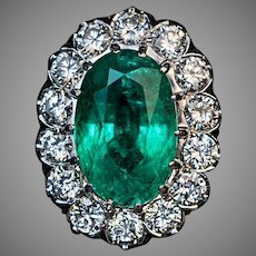 Vintage French 3.59 Ct Emerald Diamond Engagement Ring