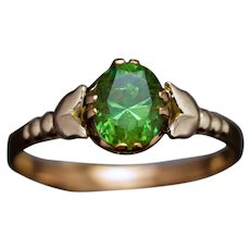 Vintage 1.27 Ct Russian Demantoid Garnet Rose 14K Gold Ring