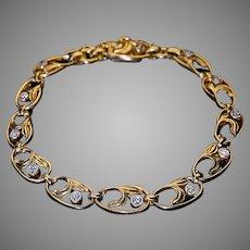 Art Nouveau Antique Russian Diamond 14K Gold Link Bracelet