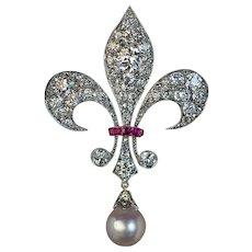 Belle Epoque Antique Diamond Pearl Ruby Fleur-de-Lis Brooch
