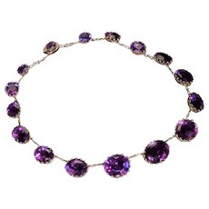 Antique 19th Century Victorian Amethyst 14K Gold Necklace