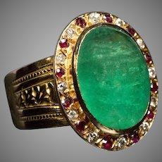 9d4dccf1419a78 Vintage French Cabochon Cut Emerald Diamond Ruby 18K Gold Ring. Romanov  Russia Ltd