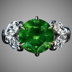 Very Rare 4.98 Ct Russian Demantoid Garnet Diamond Ring