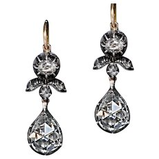 Rare Antique Georgian Era Rose Cut Diamond Earrings