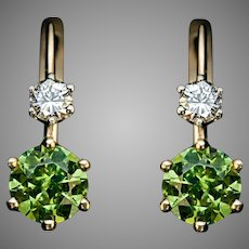 Rare 2.51 Ctw Russian Demantoid And Diamond Earrings
