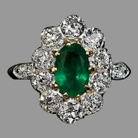 Antique Edwardian Emerald Diamond Engagement Ring