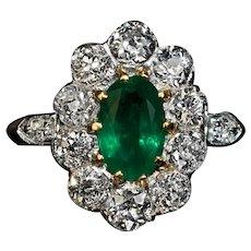 Antique Edwardian Emerald Diamond Engagement Ring
