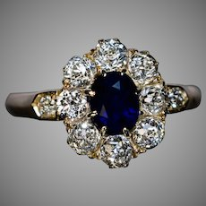 Early 1900s Antique Sapphire Diamond Engagement Ring